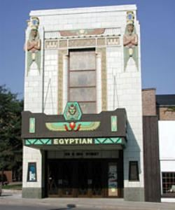 "The Egyptian Theatre, Dekalb — Built in 1928-1929, the Egyptian Theatre was created during a time when the entire country was caught up in the mystery of the discovery of King ""Tut""'s Tomb. The entire country was infatuated with Egyptian clothing, parties, and young Hollywood was turning out mummy movies!! 