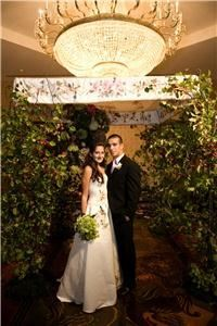 My Wedding Chuppah, Philadelphia — Chuppah and gown are custom painted by Carole Powers Gordon