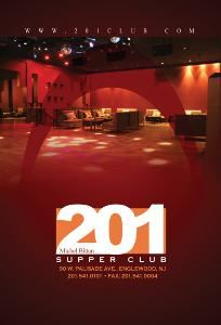 201 Supper Club, Englewood — NYC Club atmosphere with 10,000 s.f. of dance and chic lounge space on two levels for private events.  accomodates up to 300 people.  3 restaurants and outdoor terrace on site