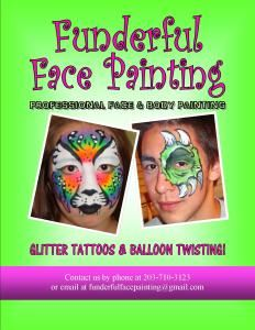 Funderful Face Painting, LLC, Branford — Funderful Face Painting is a face and body art company.We are available for any type of event. From one hour to all day.We are professional and take special care to keep all of my paints, brushes and sponges clean and hygenic. Full faces are our specialty but we can do eye designs or cheek art. We love turning your face into art!