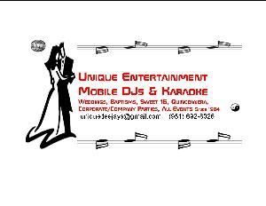 Unique Entertainment Mobile DJs & Karaoke, Hemet — Experienced mobile DJ, karaoke and lighting for your event! Weddings, Anniversaries, Sweet 16s, Quinceañeras, Baptisms, Communion, Birthday, Grad Party, Promotion, Bar/Bat Mitzvahs, Corporate/Company Parties and Picnics, Government Agency Bashes, School Events such as Prom, Homecoming and other School Dances. We do any type of event possible!