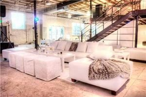 cb events-marketing, Greenville — Private VIP party where the white leather furniture looked stunning with the fur accents in pillows, throws, and rugs.