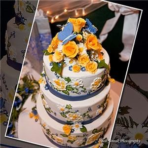 Truly Custom Cakery, LLC, Warminster — Butterflies and Roses Wedding Cake. This is a buttercream cake with gum paste decorations. The design on the sides of the cake is called brush embroidery.