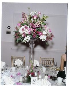 Connecticut Wedding Planner, Ellington — Beautiful High Floral Centerpieces Enhance the Event