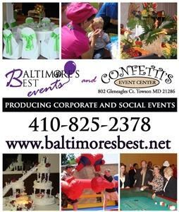 Baltimores Best Events LLC, Towson — Baltimore's Best Events is dedicated to being your premier provider of event services and event planning throughout the northeast region. We are completely dedicated to providing you the highest quality of service in order to exceed your expectations. From Birthday Parties for any age and baby showers, to Corporate Events and everything in between, whether you need stage props, balloon décor or a magician, we have the experience, capability and expertise to create the best event for any occasion.