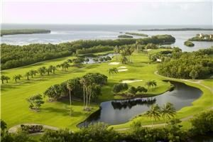 Golf Course, Deering Bay Yacht & Country Club, Miami — Aerial shot of the only Arnold Palmer Bayfront course in South Florida