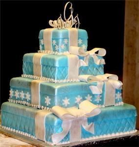 Goehrig's Bakery, Jersey City — Tiffany Box Cake. Stacked beautifully with white bows and jewels.