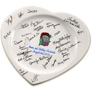 Guest Book Platters .com, Inc. - Boston, Boston — Personalized guest book signature platters with custom hand painted designs for your wedding, anniversary, engagement, birthday, retirement or special event. Why remember guests from a dusty old paper wedding guest book? Signature plates get displayed as a wonderful keepsake memento.
