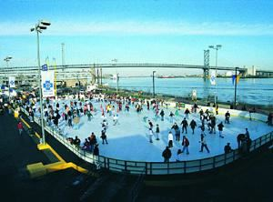 The Blue Cross RiverRink at Penn's Landing, Penn's Landing, Philadelphia — Blue Cross RiverRink at Penn's Landing is Philadelphia's premier outdoor ice skating rink located along the Delaware River.  The Blue Cross RiverRink offers a unique, outdoor ice-skating experience with panoramic views of the Philadelphia waterfront and city skyline.  The Blue Cross RiverRink can accommodate 500 skaters and features a heated, indoor reception area with skate rentals, game area, food concessions, and a video wall.(Please note that the Blue Cross RiverRink will not be available for private rental during Holiday Sessions.