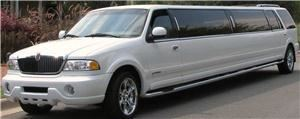"American Limousine LLC Shelby, Shelby — 14 Passenger 200"" stretch Lincoln Navigator.  Ideal for a bachelorette wine tour or for pre- or post-wedding transportation."