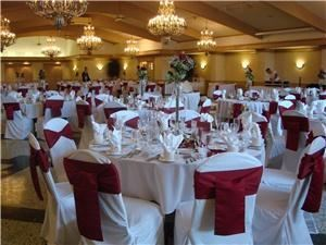 St. Andrews Room, St Andrews Golf & Country Club, West Chicago — For the larger weddings and banquets. The room offers a picturesque view of our St. Andrews course, with chandelier lighting, cathedral ceiling, decorated in soft neutral undertones. (minimum guarantee, 100 adults)