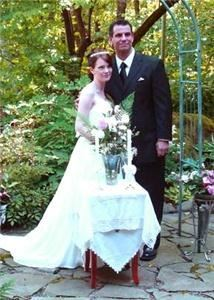 Columbia River Wedding Services, Washougal — Couples enjoy marrying in the Koi pond garden at Quinn Mountain with is flagstone marrying patio and wedding arbor