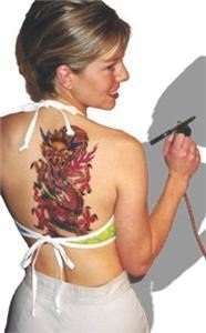 Island Tribal Designs Inc., Las Vegas — Airbush tattoo 3 stencil overlay dragon for modeling.