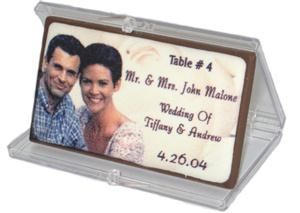 Chocolate Picture People Incorportaed, Shawnee — Example of our elegant chocolate table cards.  We will use your pictures and you can customize the text on each card.  Two sizes to choose from. Truffles and other shapes also available. Each come packaged in a clear case or envelope.