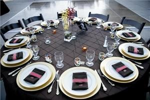 Events by M and M, Simi Valley — Simple table setting.