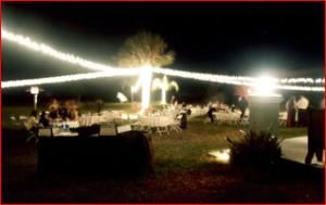 Entire Facility, Wild Acres Villa, Paisley — Our LED garland lights will cover an area to accomodate over 300 guests with ambient light and can be in various colors or combinations.