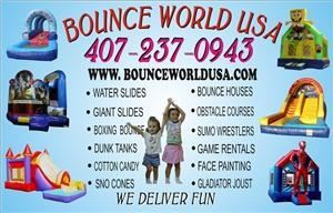 Bounce World USA, Orlando — Bounce World USA has a variety of Inflatable Bounce Houses and Party Rentals for any event. We pride ourselves with great service and ontime delivery. Please call us with any questions at 407-237-0943 for all your party planning needs. We have professional delivery personal that will assist you in the setup and takedown of our rentals. Our equipment is clean and safe for all ages. We serve the greater Orlando Florida area.
