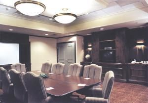Executive Board Room, Four Points Sheraton York, York — The Executive Boardroom provides state-of-the-art conveniences, such as built in audio/visual equipment and data port hook ups. The room accommodates up to 45 people in comfort.