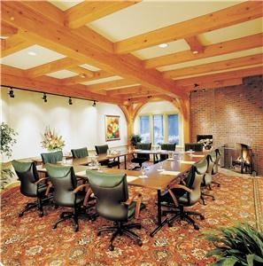Schubert Room, Trapp Family Lodge, Stowe — The dramatic Schubert Room is ideal for presentations and small breakout sessions, featuring a wood-burning fireplace and seats up to 20. The Schubert Room is 512 square feet in size and has the following setup options.