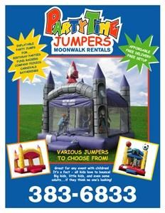 PartyTime Jumpers, Galesburg — Moonwalk Inflatable Rentals- It's A Fact All Kids Love To Bounce! Great for Birthday Parties, Church Functions and Any Other Fun Filled Event! Sports, Wizard and Castle Themes.