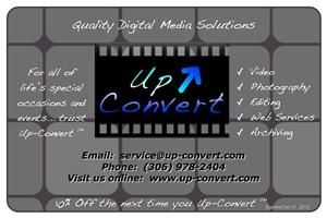 Up-Convert Digital Technologies, Saskatoon — For all of life's occasions and special events... Trust Up-Convert.  Video, Photography, Editing, Web Services, Archiving and More.