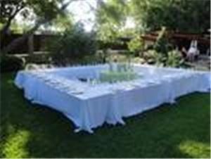 Entire Facility, Stone Creek Terrace, Frisco — Table setting on lawn with ceremony area in background
