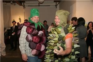 Root Division, San Francisco — Guests at Root Division's annual TASTE event dress in artist designed costumes.  Durian and Blackberry, together at last!