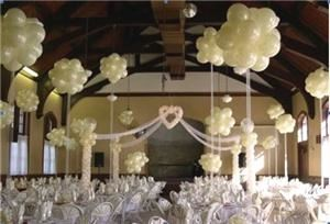 Celebrate it! Balloons & Gifts, The Colony — Elegant pearl ivory balloon centerpieces add so much to the romantic decor of this large reception venue!  The floating heart arch is a beautiful focal point for the canopy and draws the eye to where the happy couple will be seated!