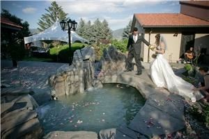 Durali Villa, Vernon — Large landscaped gardens complete with waterfalls, outdoor kitchen, beautiful lighting, and multiple areas for wedding ceremonies and receptions. The bride and groom can stay on site in the 12,000 sqaure foot luxury villa.
