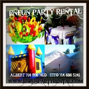 Enfun Party Rental   90621, Buena Park — CHAIRS, TABLES, CANOPIES, LINENS , UMBRELLAS, HEATERS, BOUNCE HOUSE ALL WITH GREAT LOW PRICES COME AND CHECK US OUT ONLINE