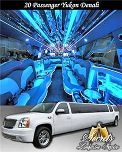 Secrets Limousine Service, Blue Bell — 20 Passenger Yukon Denali stretch limo with with 2- LCD TVs, Premium DVD / AM / FM / CD / I-Pod with surround sound, Fiber Optic Mirrored Ceiling and Bar, Dimmer Controlled Lights and Hands Free Intercom.