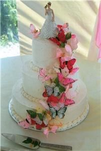 That Takes the Cake, Sequim, WA, Sequim — Sugar crystals coat this butterfly 3 tier wedding cake!  Sparkles in the lights!!