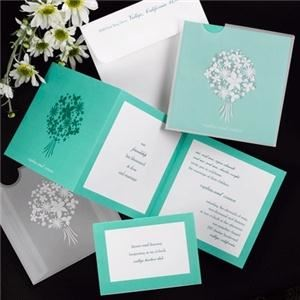 YourWeddingGirl com, Houston — Pocket Blossom: Multiple color options available! A white, floral, foil-stamped bouquet adds a great accent to this translucent pocket.  