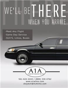 A1A Airport & Limousine Service, Boca Raton — We are one of South Florida's oldest and most reliable transportation companies. We offer Stretch Limousines, Sedans, Vans, Party Buses and motor coaches. We make any event extra ordinary. Friendly Safe Drivers who go out of their way to make your day extra special.