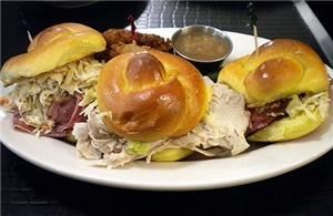 Delicatessen, Philadelphia — Four Bite Sliders: Fresh Roast Turkey, Corned Beef & House Smoked Pastrami Specials on Mini Challah rolls
