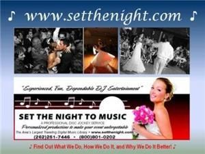 "Set The Night To Music DJ's - Waukesha, Lannon — Set The Night To Music, Lannon — ""Grown Up DJ's for Grown Up Weddings"" - Set The Night To Music DJ's has been providing one of a kind entertainment for exclusive clients since 1989. DJ entertainment that's often imitated but never duplicated. We provide unparalleled entertainment which keeps the Bride & Groom as the focal point while keeping the guests dancing all night long. A great party requires exceptional planning. Set The Night To Music takes the time to plan your reception with you by offering online reception planning tools for our clients as well as hosting a personal consultation to finish your planning with you. Our highly rated reviews demonstrate our commitment to making each event the best possible. You don't get married everyday and you owe it to yourselves to find reception entertainment that will be as special and unique as you. Set The Night To Music wants to be your DJ!"