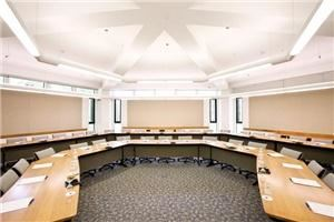 Booz Allen and Hamilton Leadership Center, Aspen Meadows Resort, Aspen — Wiht 1800 sq.ft, windows, outside access, and a large built-in LCD screen and projector, the Booz Allen room is perfect for groups sized 25-80 who want an intimate and inspiring meeting experience.
