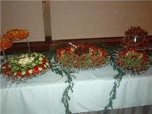 Simply DelecTable Catering - Lawton, Lawton — Fruit skewer and vegetable tray with vegetable dips and chocolate dipping sauce for the fruit.
