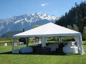 Sabre Party & Event Rentals, Whistler — Maxi Frame wedding tent set for 150 guests