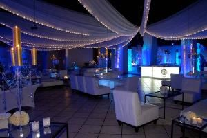 EventFantastic, Fort Lauderdale — ceiling draping with mini lights and perimeter lighting