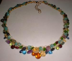 Frenchy Loeb Jewelry, Saratoga Springs — 14K Gold Filled Hand-Crochet Wire Multi Gemstone Rainbow Necklace, adjusts 16 inches up to 19 inches.