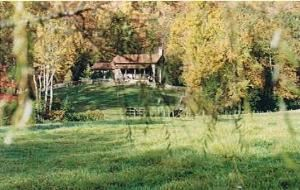 cabin rental, Mountains and Meadows at Turkey Pen, Pisgah Forest — View of cabin.