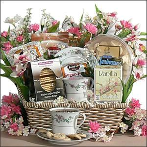 Labella Baskeys, Phoenix — Our ultimate Tea Rose tea basket Has tea cups saucers matching tea pot Teas Gourmet Variety Cakes cookies flowers honey $124 Great for a special easter gift