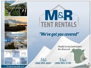 M & R Tent Rentals, Saint-Antoine — M&R Tent Rentals is a locally owned and operated business. We offer professional rental services to customers in South Eastern New Brunswick. Whether you're planning a small family gathering or a large luxurious wedding reception, we have tents and accessories for all events. 
