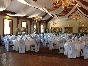 "Private Room, Silver Creek Country Club, Hellertown — The ""Rafter Room"" set for a wedding Reception.  Can accomodate up to 220 guests."