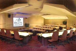 Pavilion, Delta Meadowvale Hotel & Conference Centre, Mississauga — The Pavilion is a self-contained 90-seat tiered amphitheatre. In addition, there are 4 breakout rooms that can accommodate up to 8 people in each room.