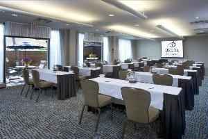 South Studio 1, Delta Meadowvale Hotel & Conference Centre, Mississauga — South Studio 1, located on the ground level enjoys a great deal of natural lighting through floor to ceiling windows and double doors that opened into a patio where meeting attendees can enjoy fresh air.