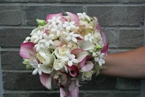 Flowers by Mary Beth Bartel, Portland — Victorian Bridal Bouquet:  pink and white calla lilies, orchids, roses and stephanotis