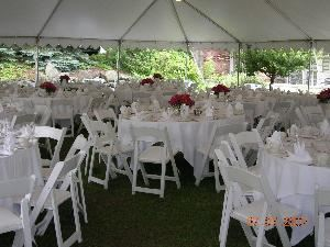 Outdoor Courtyard, Nichols Village Hotel & Spa, Clarks Summit — Multiple tents can be used to have a truly unique Wedding Reception.
