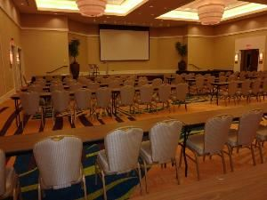 "Total Ballroom, Morrow Center, Morrow — Total Ballroom shown with optional 120"" Drop Down Screen and LCD Projector.  Handles up to 180 Classroom style, 320 Banquet or 500+ Theater Style."